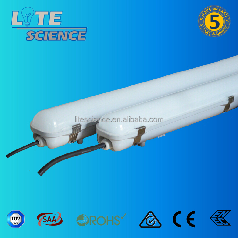 IP65 IK10 40W 125lm/w led tri-proof light ,weatherproof batten, replace fluorescent T8 tube