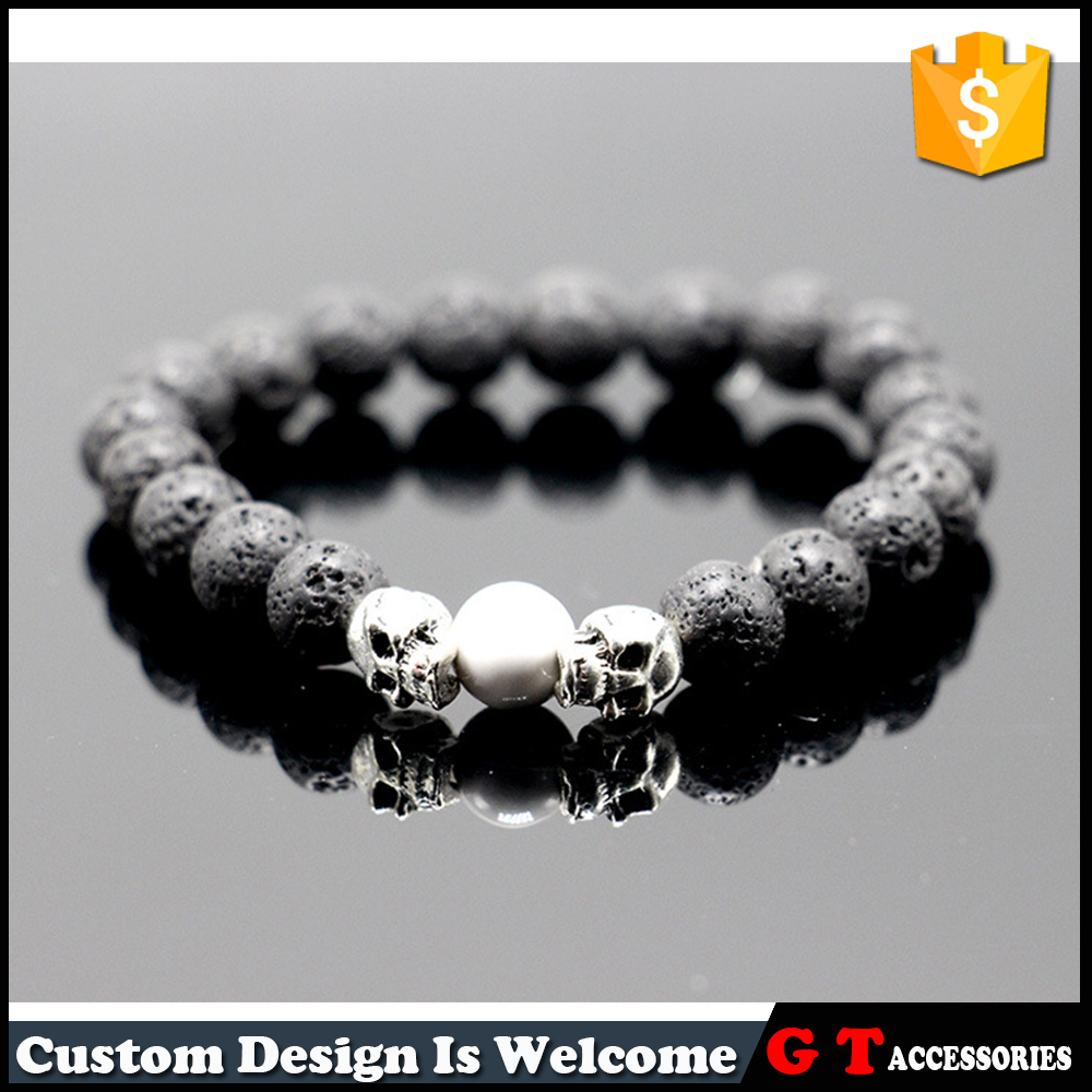 Vintage Alloy Skull Lava Magmatic Rock Volcanic Gemostone Beaded Bracelets With Pearl
