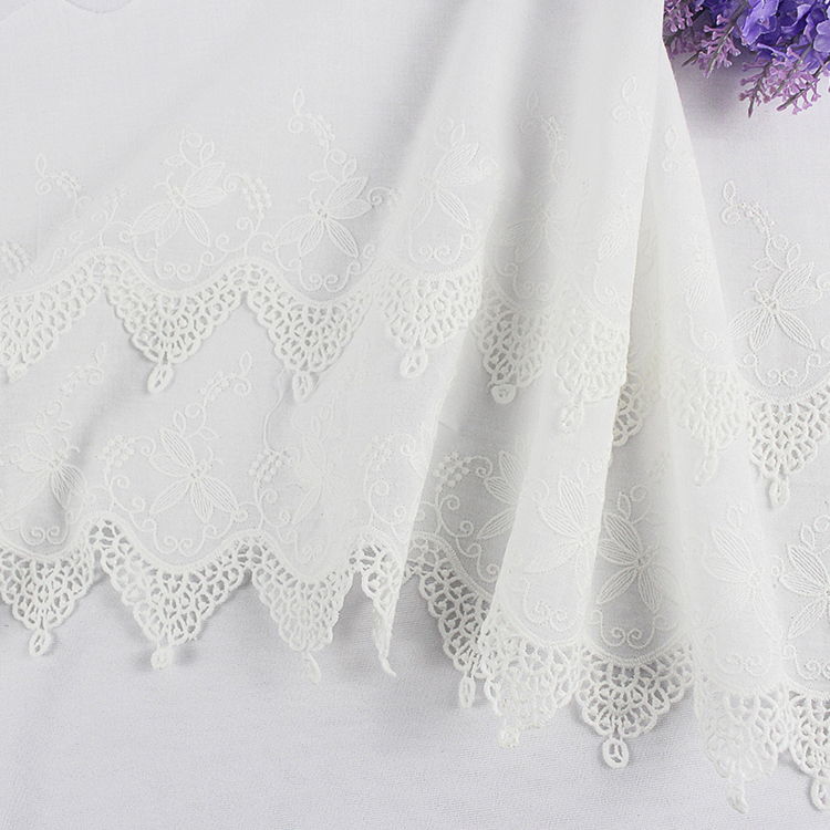 cotton embroidered lace trim butterfly floral design ribbon