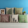 HOME-GJ Blend Linen Decorative Couple Throw Pillow Cover Cushion Case Couple Pillow Case Life Tree Green for Auto seat
