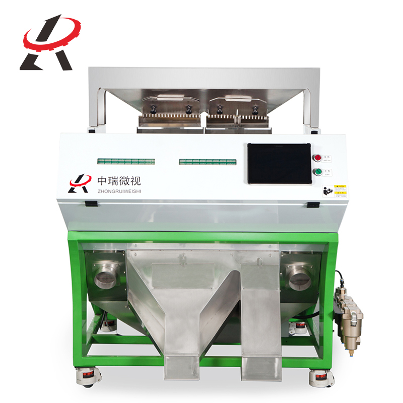 Intelligent ccd color sorter rice grain bean wheat barley seafood plastic glass mineral 2 chutes color sorter