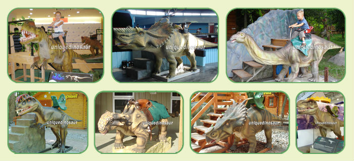 Coin operated dinosaur for outdoor dinosaur motion simulator