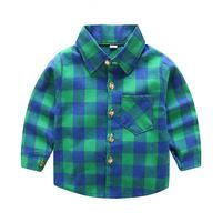 BOY KID SPREAD COLLAR GREEN BLUE PLAID FLANNEL SHIRT