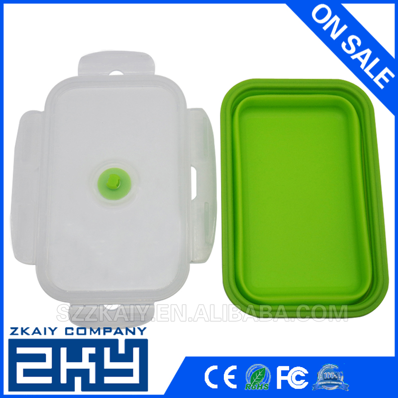 Foldable Silicone Collapsible Portable Lunch Box Bowl Bento Boxes Folding Food Storage Container Lunchbox for Outdoor Travel