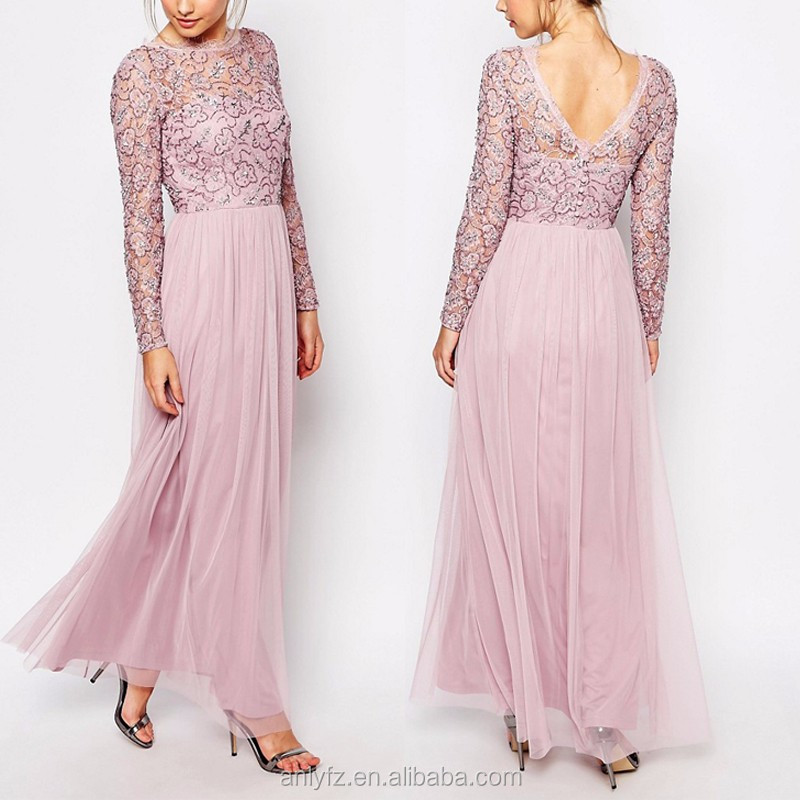 Frock and Frill Embellished Lace Overlay Maxi Evening Dress Long Sleeve Backless Long Pink Lace Wedding