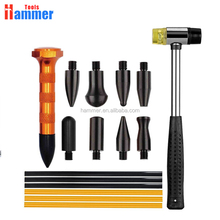 16pcs Dent Removal Tool+PDR Rubber Head Dent Hammer+6pcs PDR Hot Melt Glue Sticks+9 Head PDR Tap Down for Car Automotive Repair