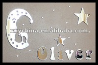 moon and star mirror with personal name,kids room mirror
