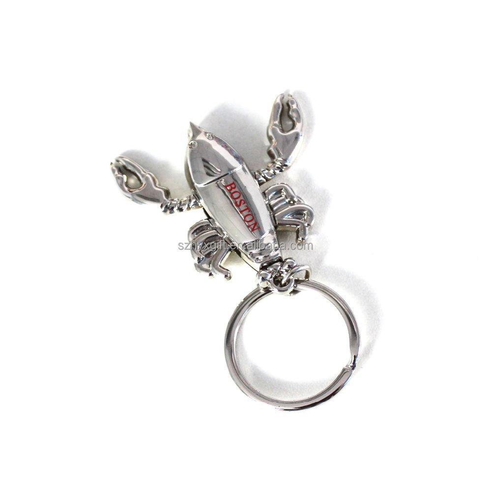 Fashionable shrimp shaped custom metal key ring/key chain
