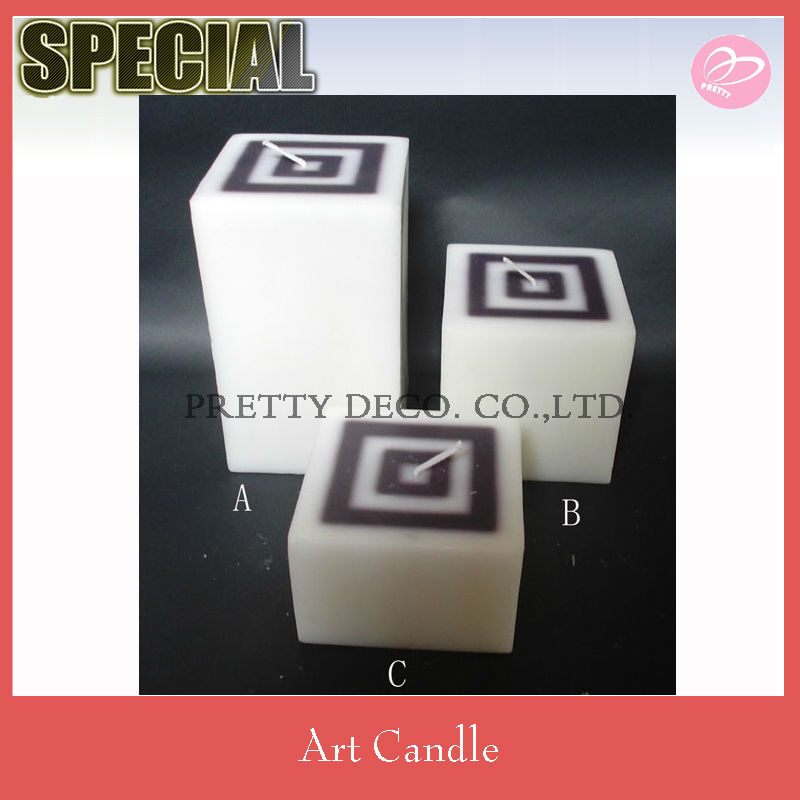 Wihte and black color mixed Pillar candle