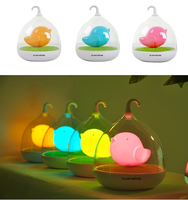 Rechargable USB Bird Cage LED Turtle Night Light With Touch Dimmer