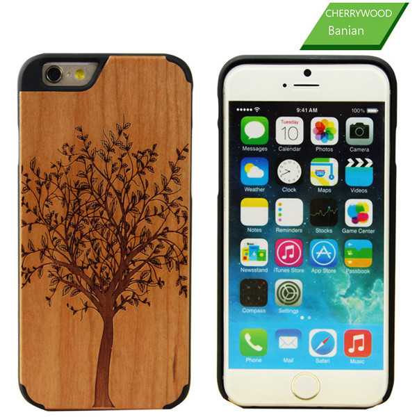 2016 Cellphone Bamboo Wood+PC Case For iPhone 6, for iPhone 6S Laser Engraving Wooden Cell Phone Case Cover
