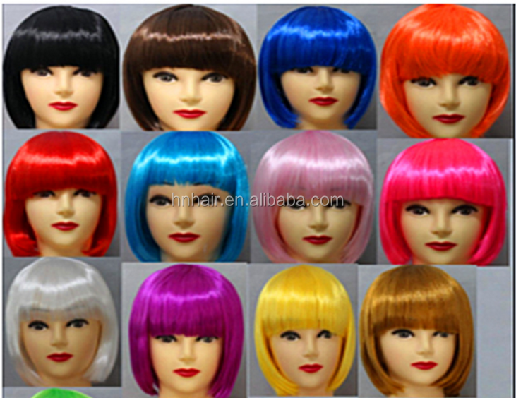 Factory American fashion short curly high temperature synthetic fiber wigs