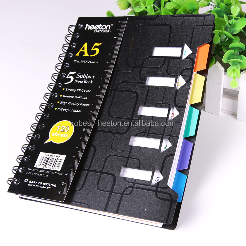 High quality PVC/PP cover spiral notebook with divider