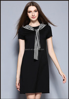 Europe new arrival fashion sexy Pierced backless wrinkle black dress for lady party