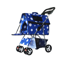 Portable Folding Four Wheeled Pet Dog Stroller Aluminum Dog Trolley