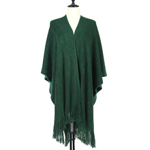 Customized Color Solid Color Super soft Cashmere Like Acrylic Poncho Shawl