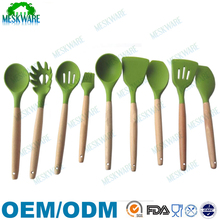 9-Piece solid wood silicon kitchen ware, wooden kitchen utensils