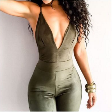 F20023C Women sexy deep V-neck jumpsuits newest style backless jumpsuit