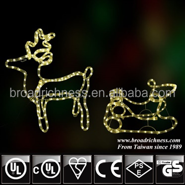 large outdoor Christmas reindeer with sledge LED rope light for Christmas decoration
