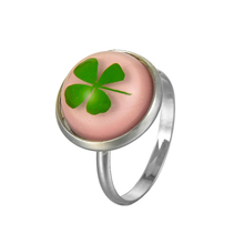 Excellent quality fashion round lucky leaf inside wholesale resin ring