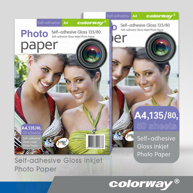 Colorway Self Adhesive Matt Coated Photo Paper 50 Sheets, Applied to HP Canon Epson Inkjet Printers