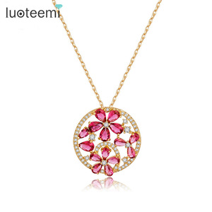 LUOTEEMI Tiny Teardrop Cubic Zirconia Diamond Gold Plated Ruby Flower Round Pendant Women Necklace