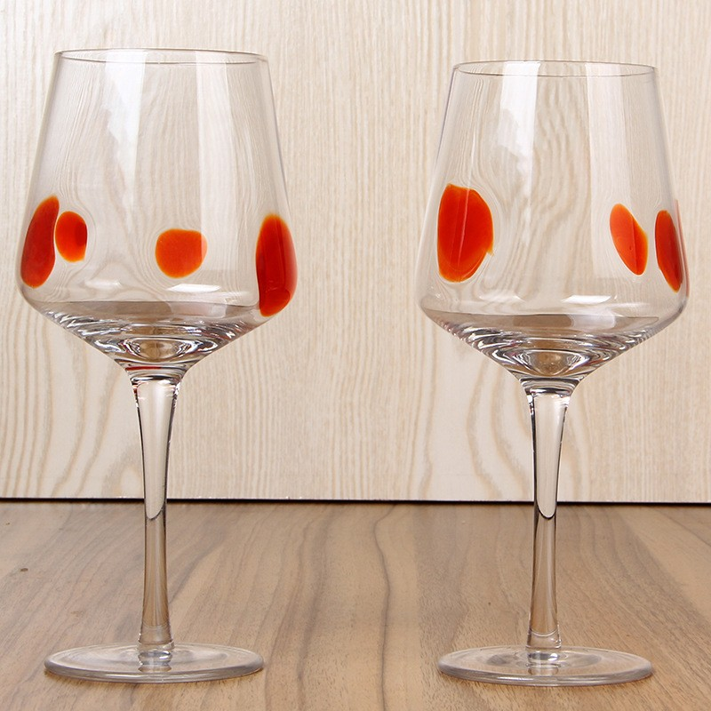 High Quality Cheap Red Wine Goblet With Dots Wine Glass Goblet In Glass