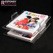 High end clear table top acrylic book display stands for album of painting