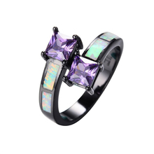 SJ Factory Direct Sale SJRB0879 Alluring Brass Black Plated Purple Pricess-Cut Cubic Zirconia Man-Made Amethyst Opal Ring