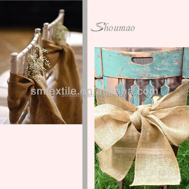 Hot selling fancy hessian chair sash for wedding chair