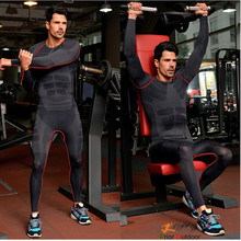 2016 new style men's long sleeve running fitness workout compression tight base layer shirt basketball sport T shirt