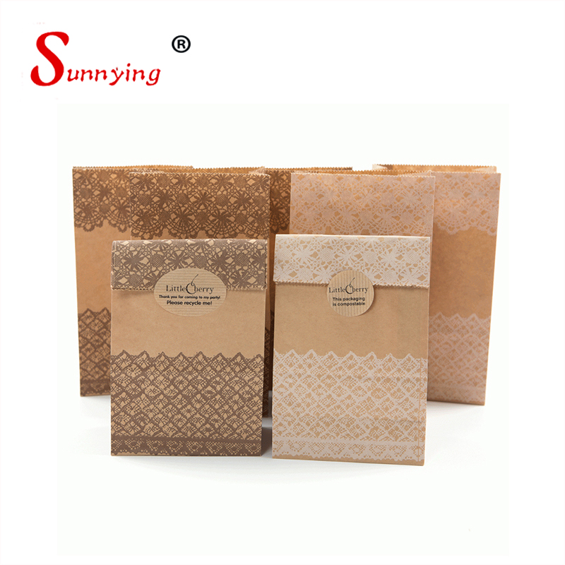 Eco Friendly Decorate Factory Printing Logo Brown Kraft Paper Sandwich Bags