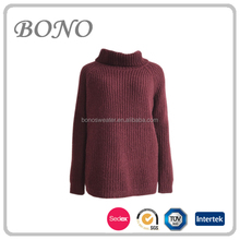 2017Winter High turn down collar long raglan sleeve loose fit knit pullover sweater for woman