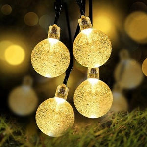 Solar Globe String Lights 19.6ft 30 LED Outdoor bubble Crystal Ball Christmas Decoration Light Waterproof