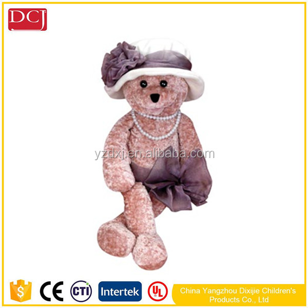 Fashionable lady dress teddy bear Lovely teddy bear wear ladies hat