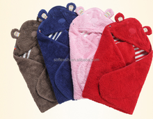 Unisex Hood for Boys and Girls custom Soft coral fleece and cotton towels hooded baby