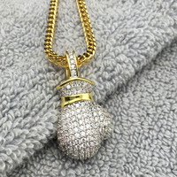 iced out Cubic Zirconia 14k yellow gold micro pave diamond boxing gloves pendant