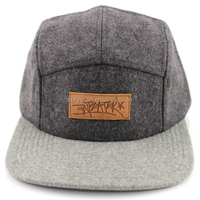 100% wool fabric flat brim hat 5 panel wool hat with leather patch