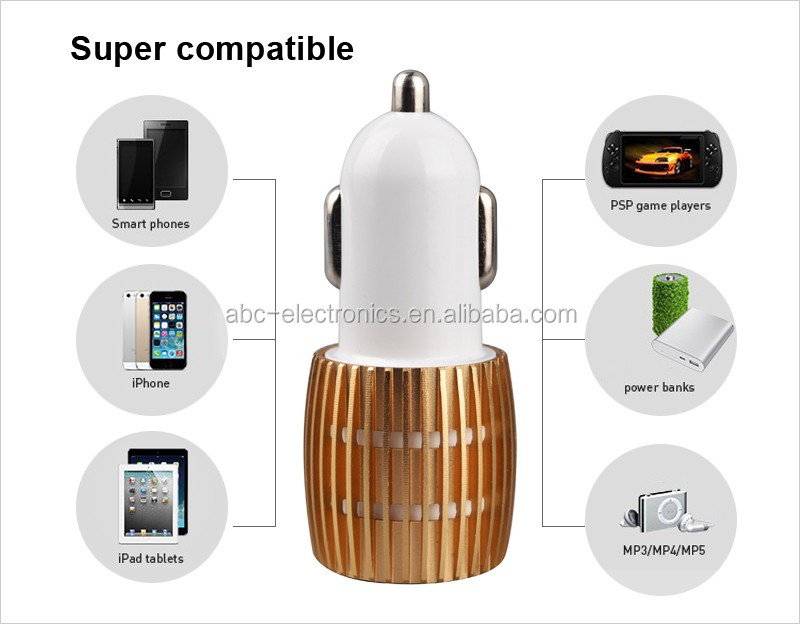 Car Charger alloy Casing Dual USB Ports Fast Charging Universal Car Charger For Xiaomi Samsung iPhone iPad ETC.
