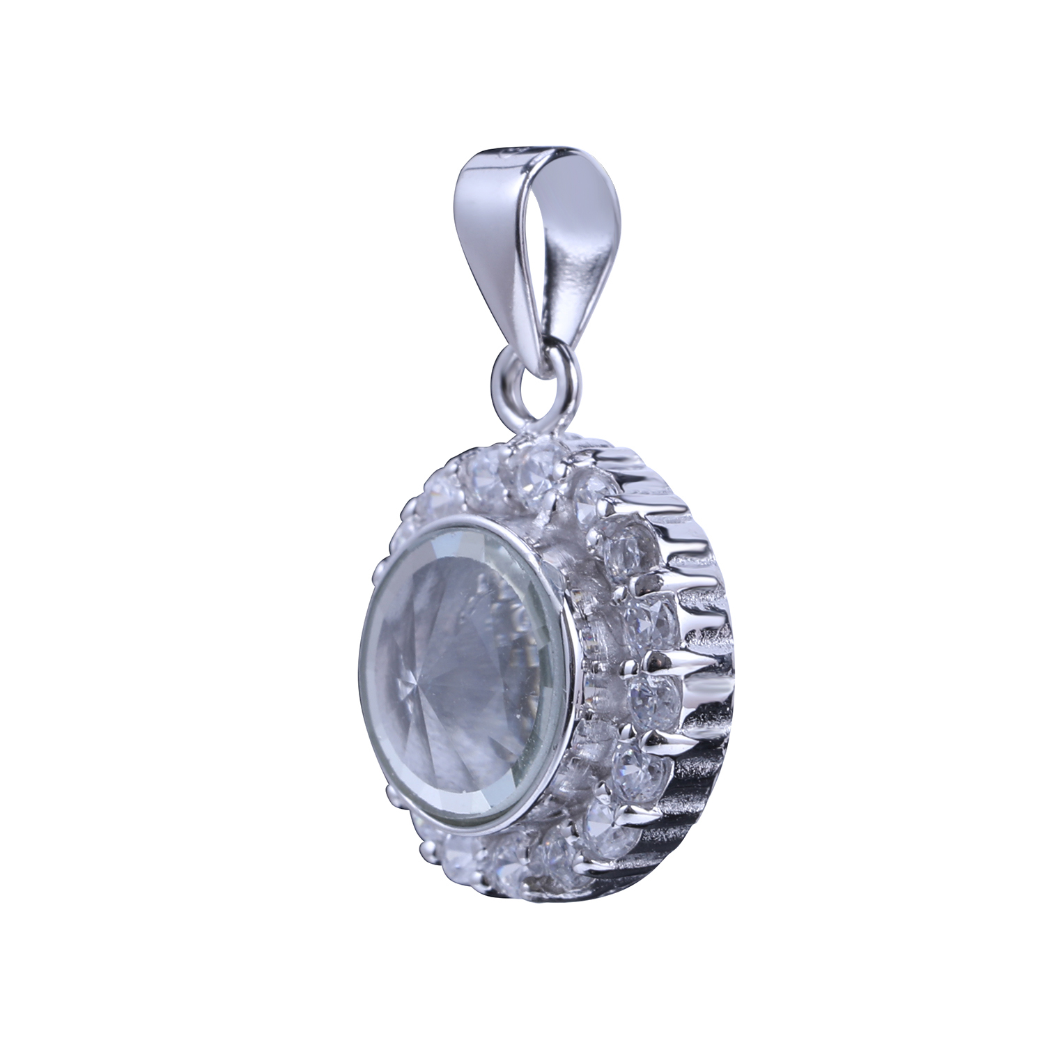 Customized Wholesales Silver Round Necklace With Charms Inside Floating Charm Necklace