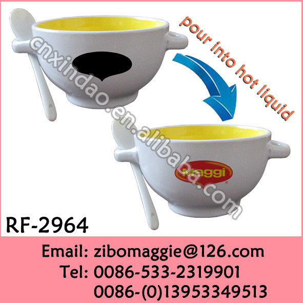 Colored Porcelain Mug with Two Ears for Promotional Maggi Soup Mug