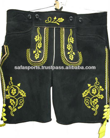 Black Color With Yellow Design Bavarian Leather Mini Shorts