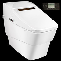 White Elongated Smart toilets with built-in bidet for bathroom