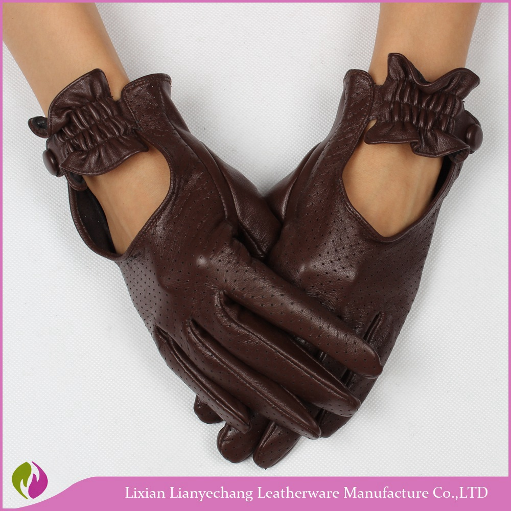 Fashion Ladies classic driving gloves leather women Spring brown leather gloves motorcycle with knuckle holes