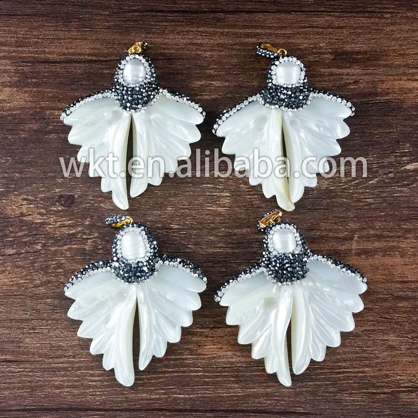 T-NP079 Natural white shell carved butterfly wing crystal rhinestone paved pendants fashion cz pave pendants
