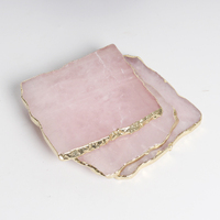 Wholesale Natural crystal rose quartz slice pink coasters for home usage and crafts