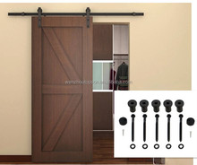 Black Antique Style Steel Rustic Modern Interior Solid Wood Sliding Barn Door Hardware