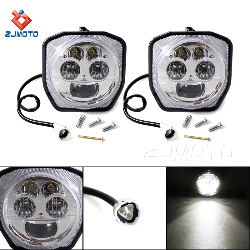 A Pair Motorcycle LED Chromed Headlight Head Light For Yamaha ATV GRIZZLY 4WD HUNTER 700 EPS 2006 2007
