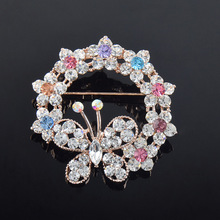 Bishun zinc alloy round flower shaped diamond brooch with butterfly brooch