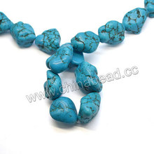 Blue turquoise Sinkiang bead with natrual veins 2mm hole beads gemstone